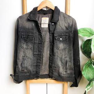 J.Crew | Dark Black Wash Distressed Jean Jacket